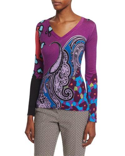 Snow Leopard Print V-Neck Sweater, Pink