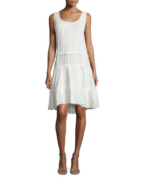 TOM FORD Sleeveless Ruffle-Skirt A-Line Dress, Chalk