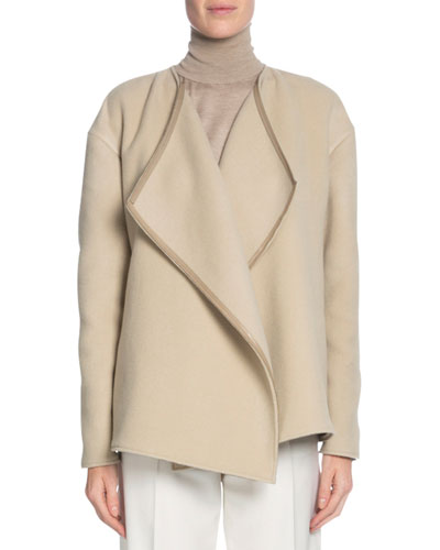 Leather-Trim Cashmere Wrap Jacket, Camel