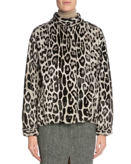 TOM FORD Leopard-Print Fur Jacket, Gray/Black