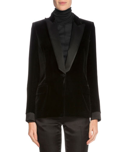 One-Button Tuxedo Jacket, Black