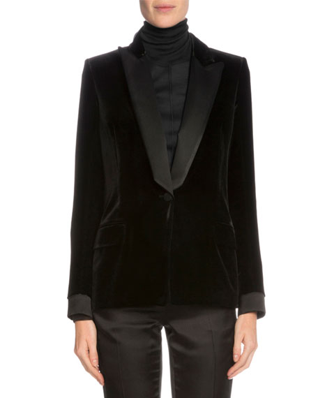Tom Ford One Button Tuxedo Jacket Long Sleeve Turtleneck Top