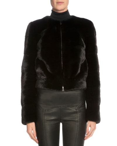 Mink Fur Cropped Jacket, Black