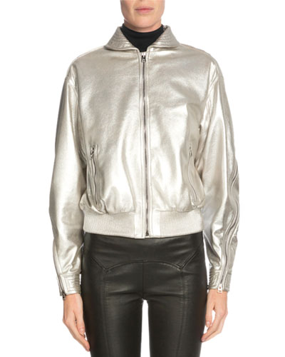 Zip-Front Metallic Jacket, Light Gray