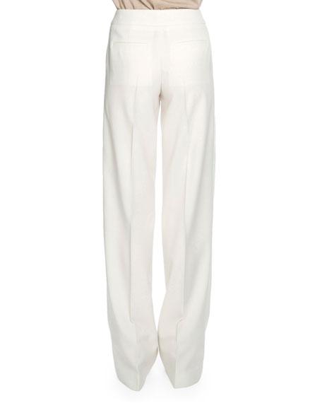 Flat-Front Wide-Leg Trousers, Chalk