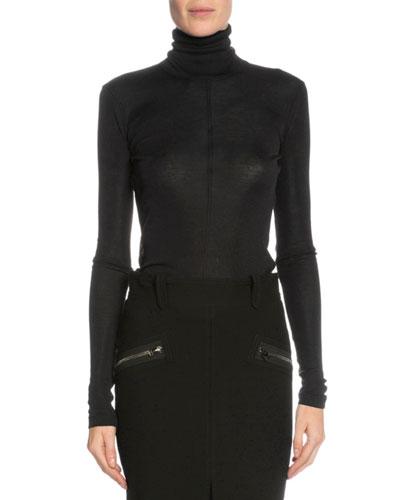 Long-Sleeve Turtleneck Top, Black