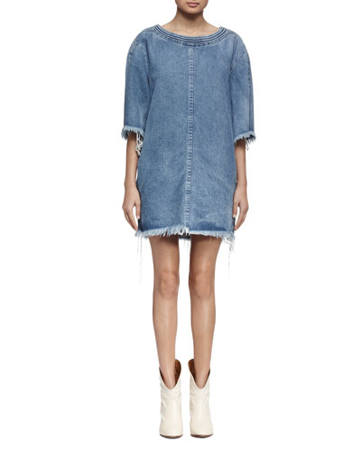 Frayed-Hem Denim Shift Dress, Light Blue Denim
