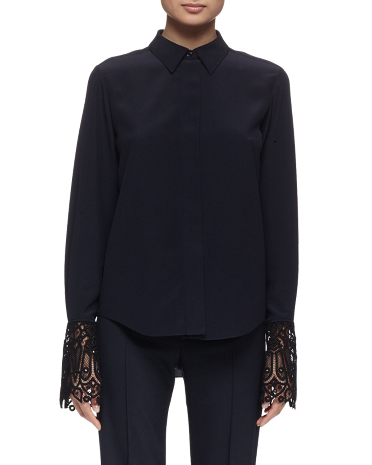 af6162c66a Long-Sleeve Lace-Cuff Blouse, Navy