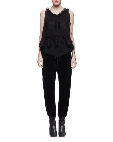 Drawstring-Waist Velvet Jogger Pants, Black