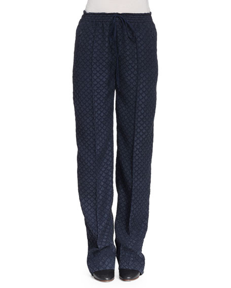 Chloe Straight-Leg Drawstring-Waist Pants, Navy