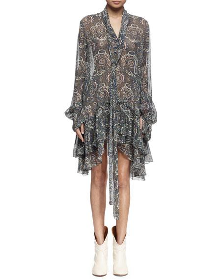 Chloe Long-Sleeve Tile-Print Tiered Dress, Khaki