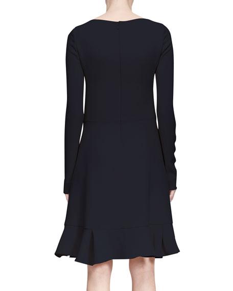 Long-Sleeve Flounce-Hem Dress, Navy