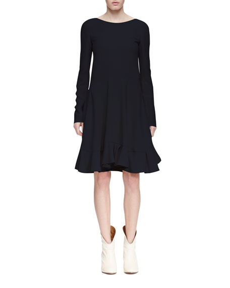 Chloe Long-Sleeve Flounce-Hem Dress, Navy