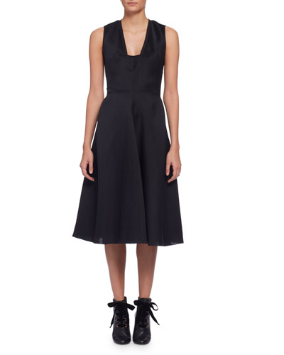 Sleeveless Fit-&-Flare Midi Dress, Black