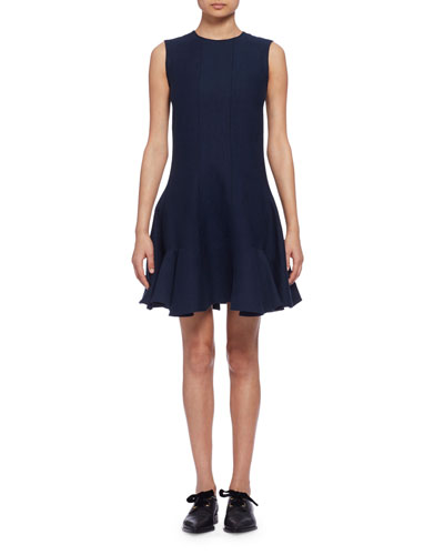 Sleeveless Fit-&-Flare Dress, Navy