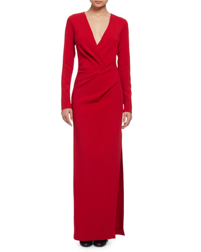 Long-Sleeve Column Gown, Red