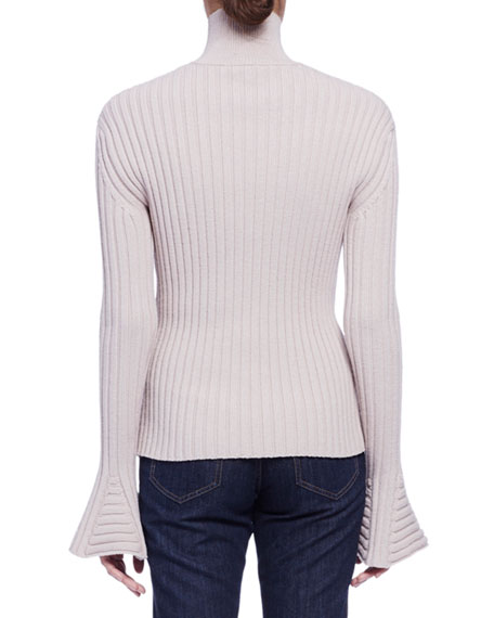 Trumpet-Sleeve Ribbed Pullover, Beige Compare Price