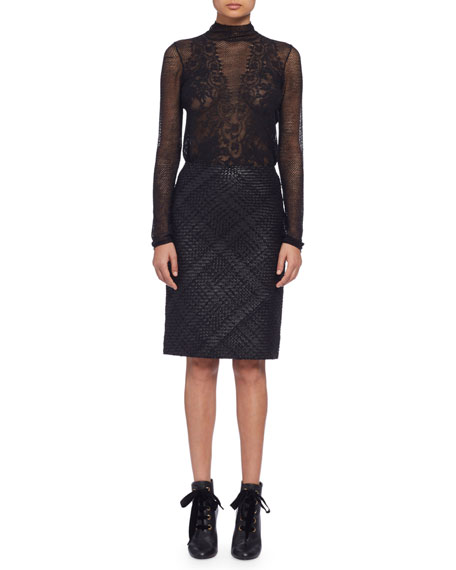 Braided-Front Leather Pencil Skirt, Black