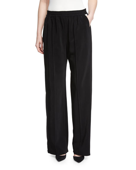 Lanvin Elastic-Waist Wide-Leg Pants, Black/White