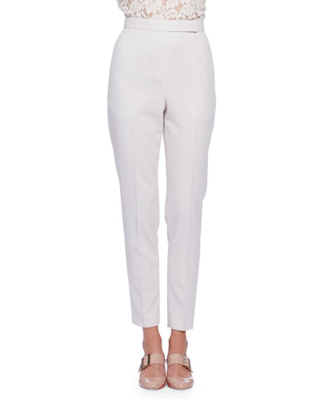 Lanvin High-Waist Narrow-Leg Pants, Ivory
