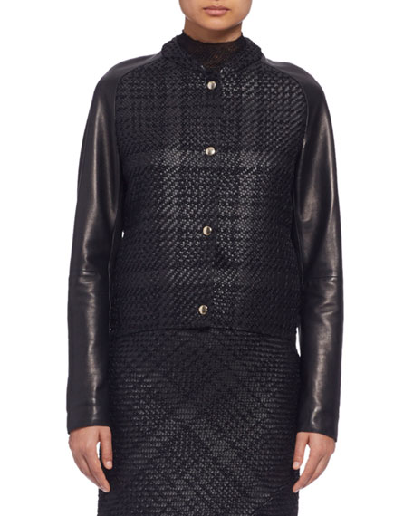 Lanvin Long-Sleeve Braided-Front Leather Jacket, Black