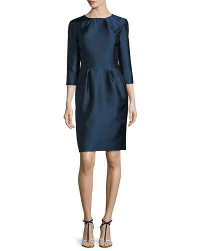 3/4-Sleeve Pleated Sheath Dress, Marine Blue