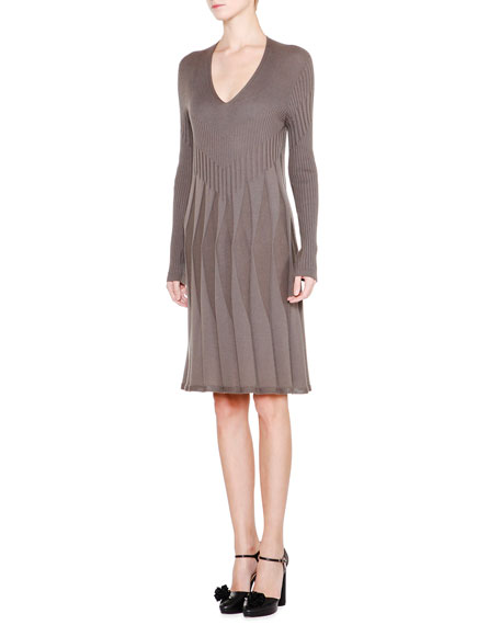 Giorgio Armani Long-Sleeve V-Neck Pleated Dress, Mud