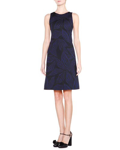 Sleeveless Jewel-Neck A-Line Dress, Blue/Black