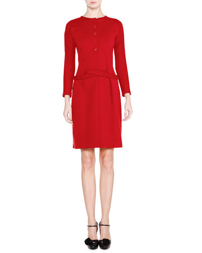 Long-Sleeve Henley Shirtdress, Red