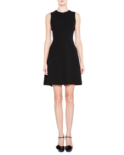 Sleeveless Seamed Fit-and-Flare Dress, Black