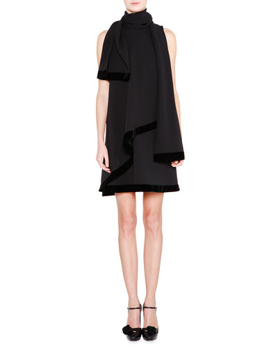 Velvet-Trim Shift Dress W/Scarf, Black