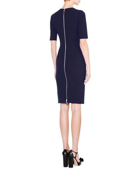 Half-Sleeve Jewel-Neck Sheath Dress, Navy
