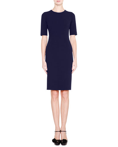 Half-Sleeve Jewel-Neck Sheath Dress, Navy