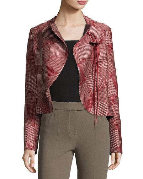 Slim-Fit Cutaway-Hem Crop Jacket, Red