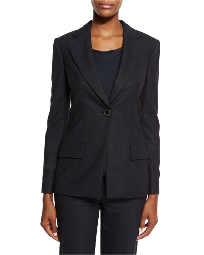 Check One-Button Jacket, Navy