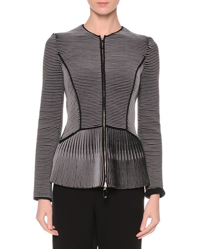 Zip-Front Jewel-Neck Fitted Jacket, Navy/Gray