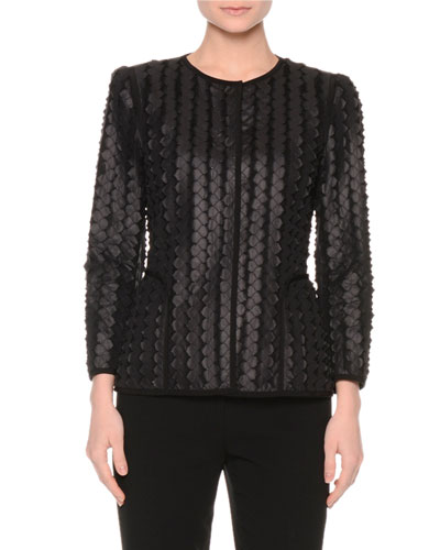 Laser-Cut Scalloped Jacket, Black