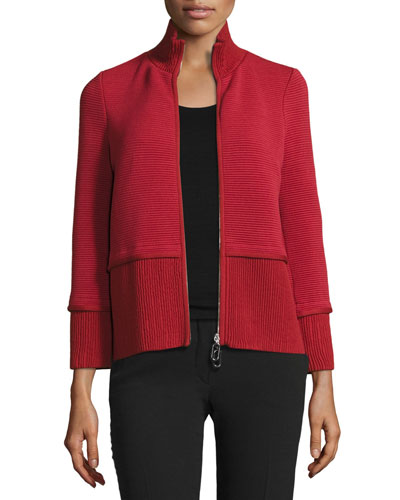 Mixed-Ribbed Knit Zip Jacket, Red