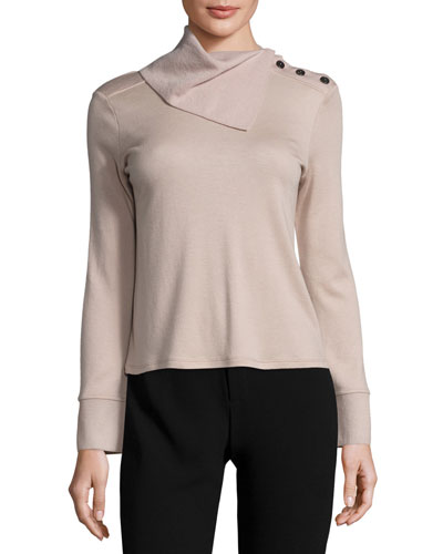 Fold-Neck Slit-Sleeve Cashmere Sweater