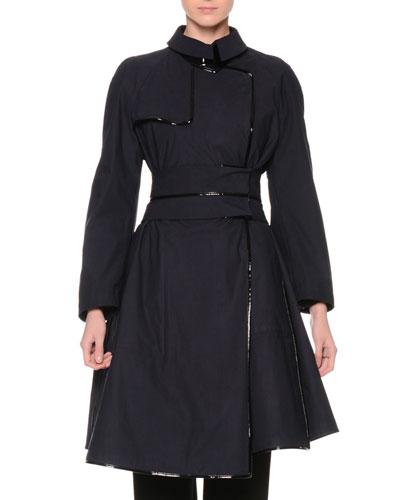 Long-Sleeve Techno Trench Coat, Navy