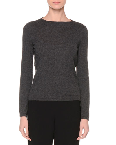 Blouson-Back Cashmere Sweater, Gray
