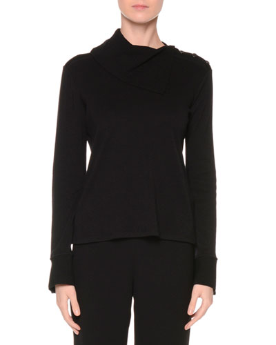 Fold-Over Turtleneck Cashmere Sweater, Black
