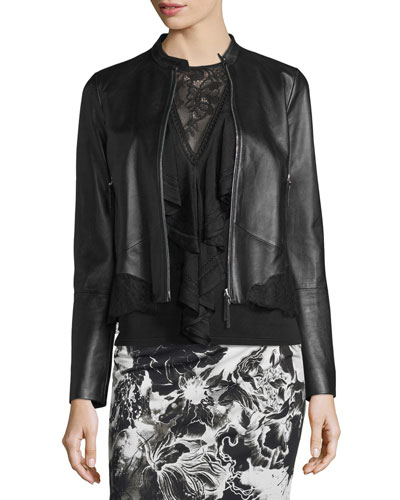 Lace-Trim Zip-Up Leather Jacket, Black