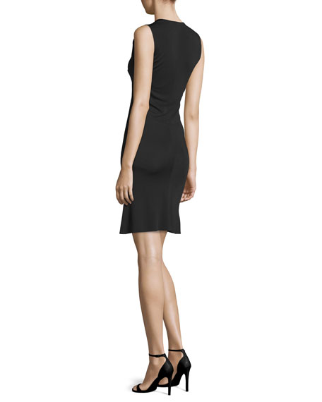 Embellished V-Neck Sheath Dress, Black