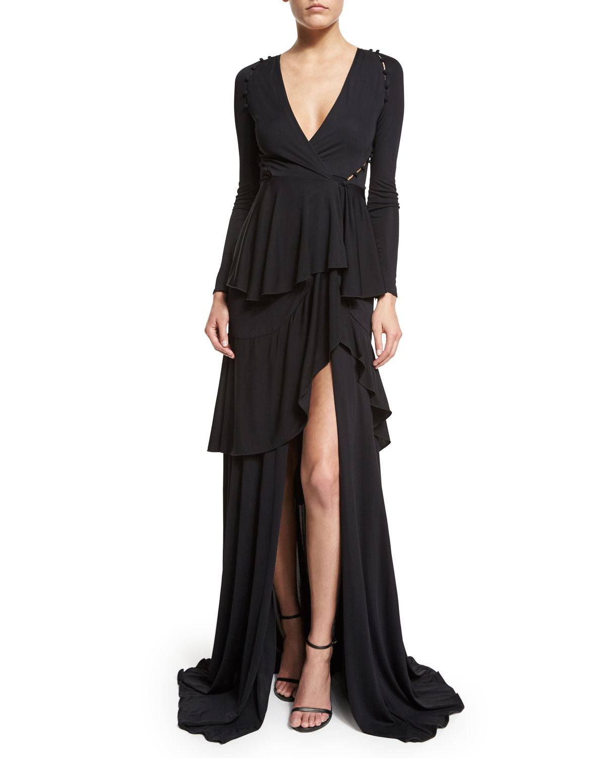 Long Sleeve Tiered High Gown Black