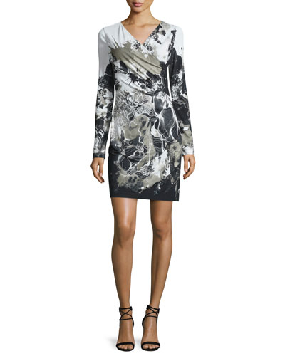 Long-Sleeve Kimono-Floral Dress, Black/White