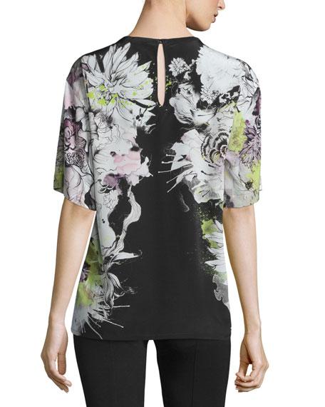 Floral-Print Short-Sleeve Kimono Blouse, Black/Yellow