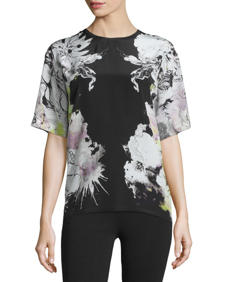 Roberto Cavalli Floral-Print Short-Sleeve Kimono Blouse, Black/Yellow