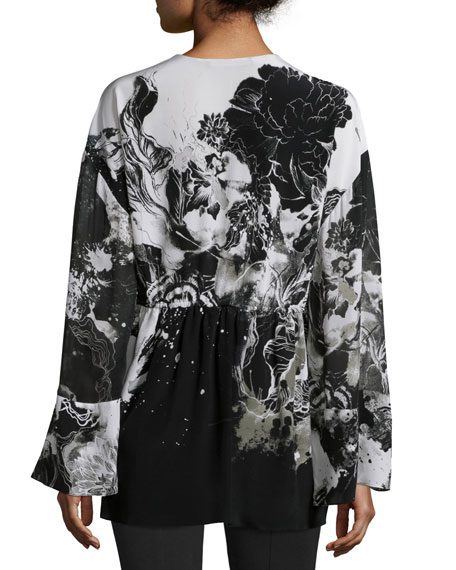 Long-Sleeve Floral-Print Caftan, Black/White