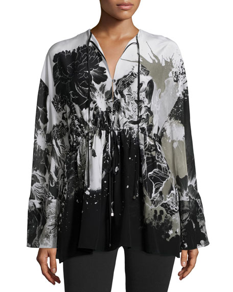 Roberto Cavalli Long-Sleeve Floral-Print Caftan & Mid-Rise Jersey